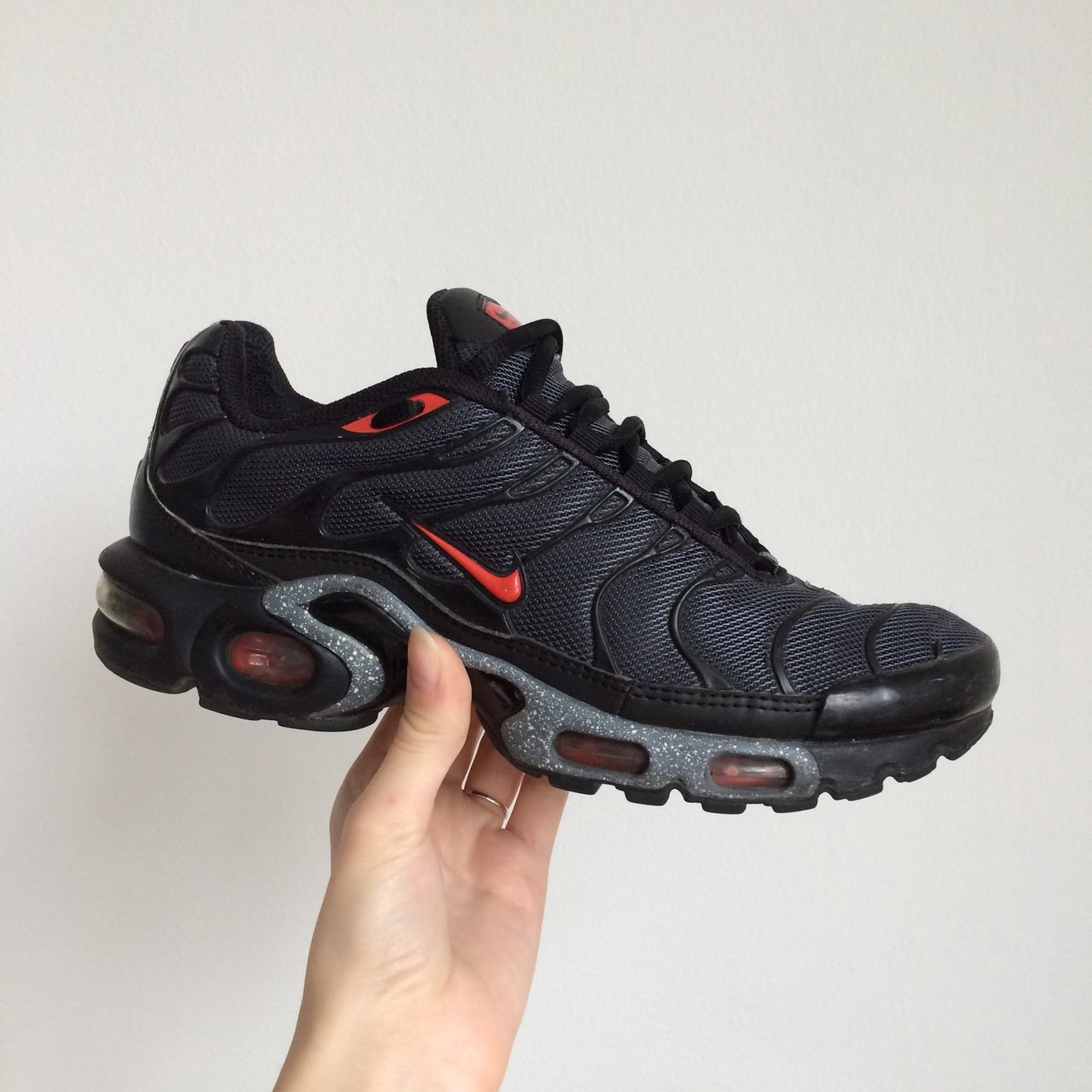 a278ac5f1f Black red and silver Nike Air Max Airmax TN TNs Tuned 1 size - Depop
