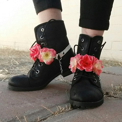 f915622ecc8 Wild rose boot straps with white leather straps. Made to fit - Depop