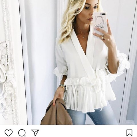 f21a297664d Selling this cute white ruffle wrap shirt for sale  wrap - Depop