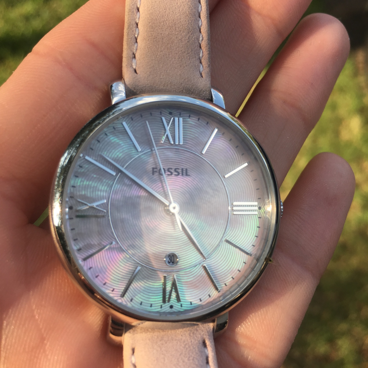 Women's fossil watch  Blush strap and pearlescent    - Depop