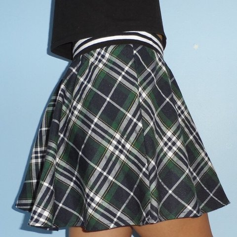 5e9d8b276 plaid skirt with striped elastic waistband super cute and is - Depop