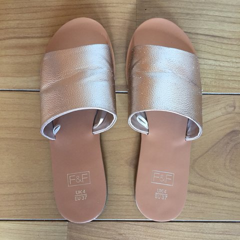 d3c1c9b95e6 Womens F F by Tesco Rose Gold Sandals  Sliders in Size once- - Depop