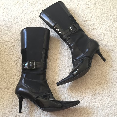 902436fde05 @e_bill22. 6 months ago. Stockport, United Kingdom. Womens Black Patent  Knee High Pointed Toe Boots ...