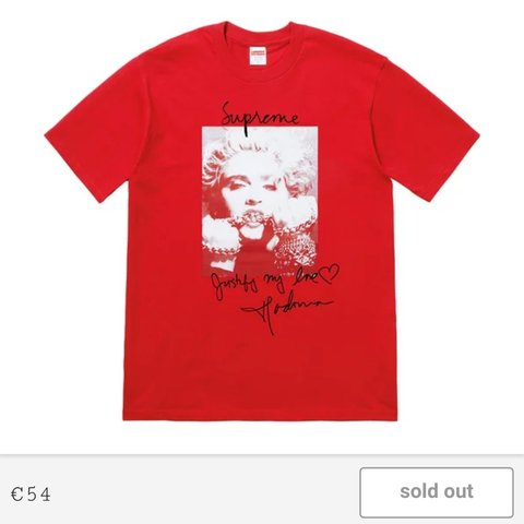 ec20bf59c @zxmalik. 10 months ago. Wraysbury, GB. Red Supreme Madonna tshirt. Size  Medium Send Offers / Deadstock Most hyped item ...