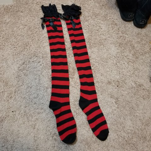 f60919205e2 Red and Black Stockings Over the knee Not that stretchy a - Depop