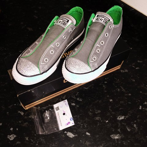 7484dba82d4b Grey and green bling converse with Swarovski crystals uk 2 - Depop