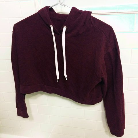 54e2c67347f2f Maroon H M Divided collection crop top hoodie
