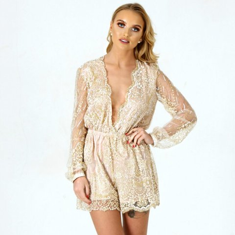 e225ab879d ✨ LAST ONE!! AVA nude glitter Playsuit - Fully lined apart a - Depop