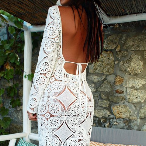 36678ba18f7 LOLA white crochet backless maxi dress! The most perfect tie - Depop