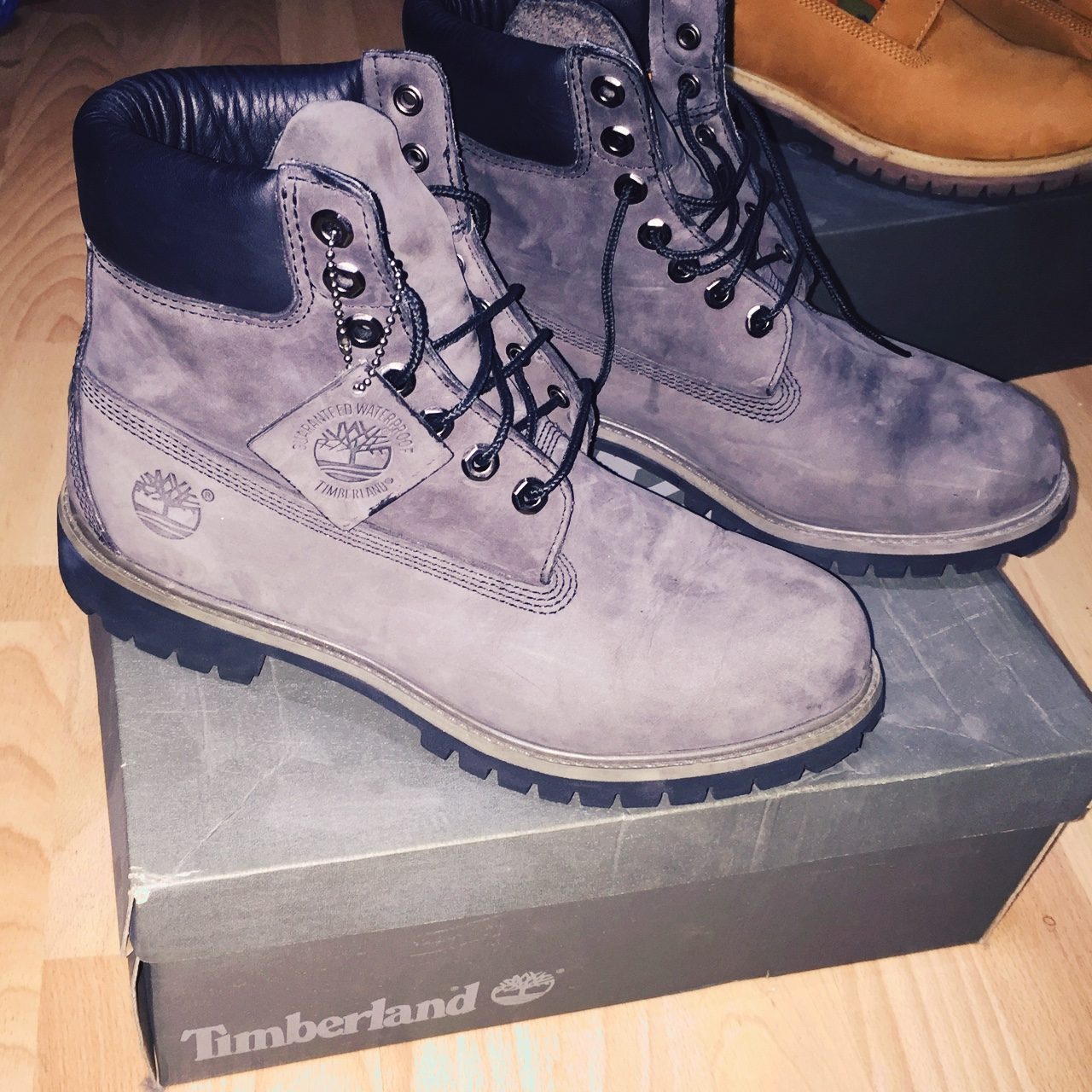 Rare men's 6 inch charcoal grey timberland boots in Depop