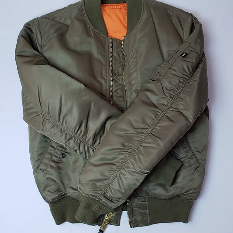 dd88a36fe0e2 ALPHA INDUSTRIES MA-1 BOMBER JACKET COLOR  OLIVE SIZE  in - Depop