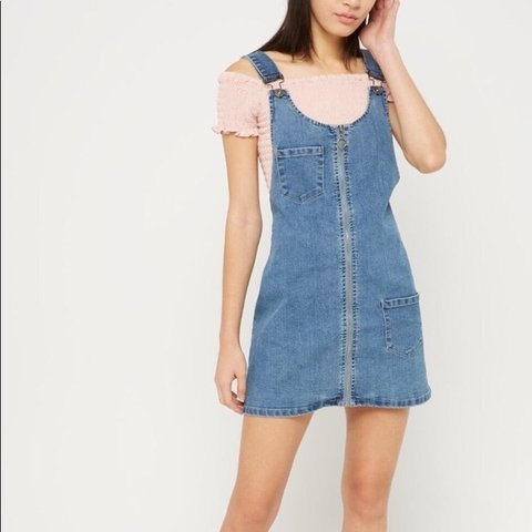 1b4fa0e9cf Denim zip up overall dress with front pockets and back butt - Depop