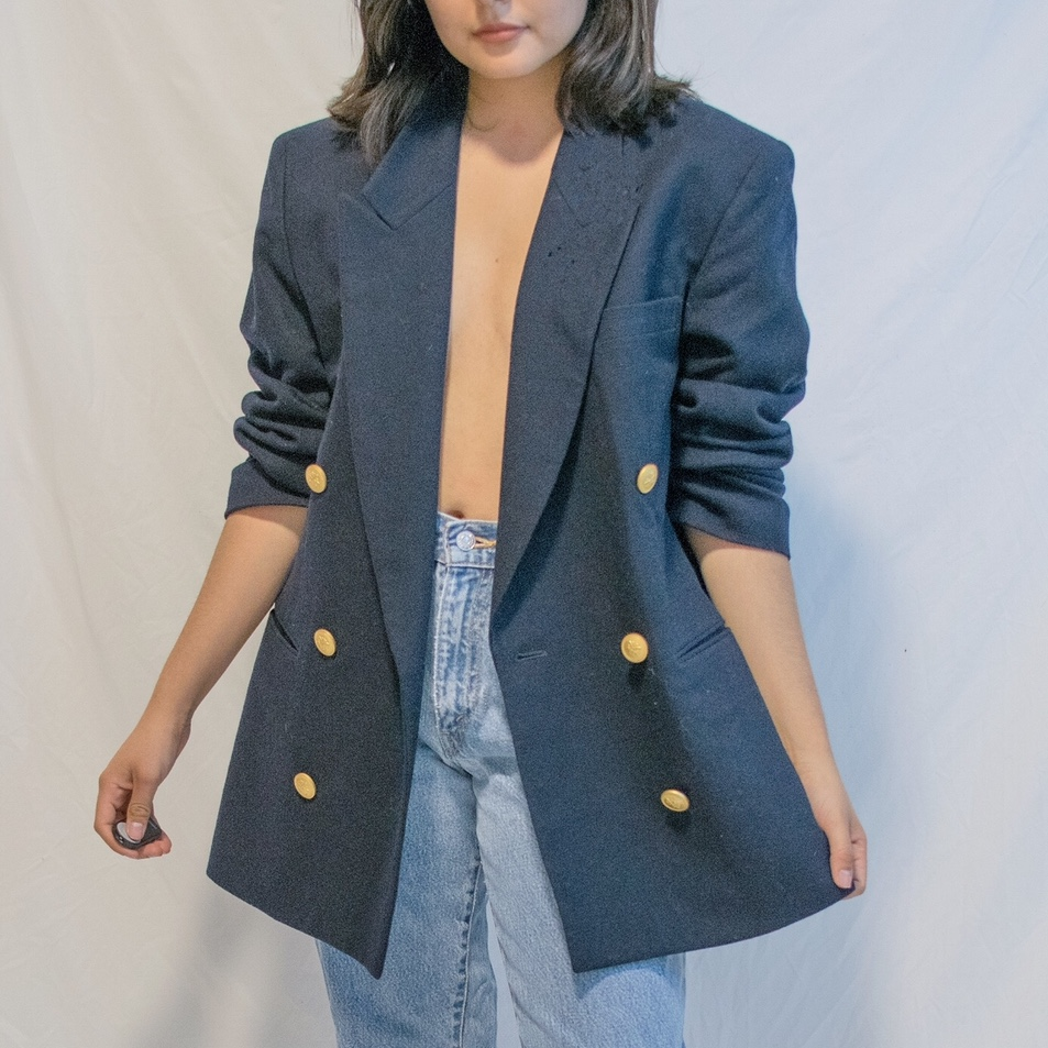 Navy wool blazer with gold detail buttons  Fits S-L     - Depop