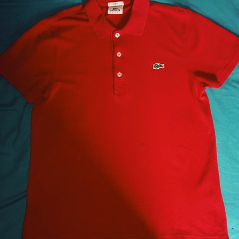 eca3aff1 @lewyluft. 2 years ago. Middlesbrough, United Kingdom. Genuine red Lacoste  polo top slim fit size small men's never ...