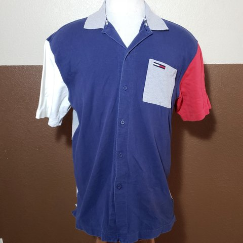 d00950503 @clothesyouwant. 7 months ago. Glendale, Arizona, US. Tommy Jean's color  block button up polo pocket shirt blue red white ...