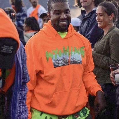 Wyoming YE listening party, orange hoodie, Kanye    - Depop