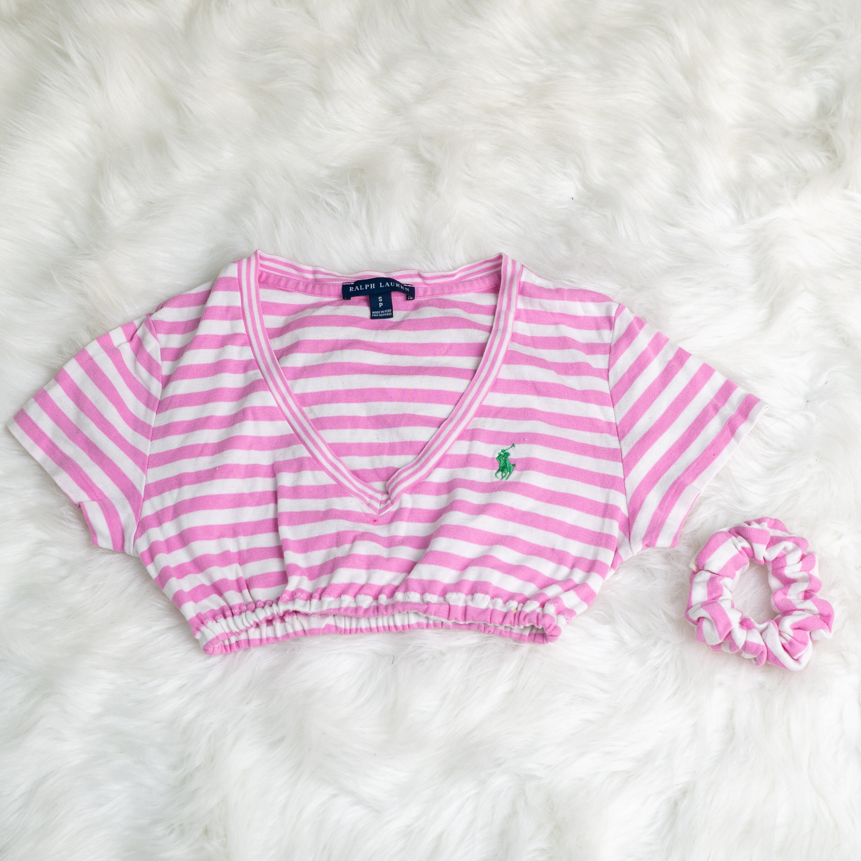 Reworked Ralph Lauren cropped tot with matching scrunchie