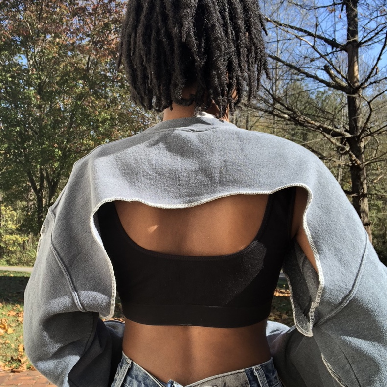Gray long sleeve cutout super cropped top