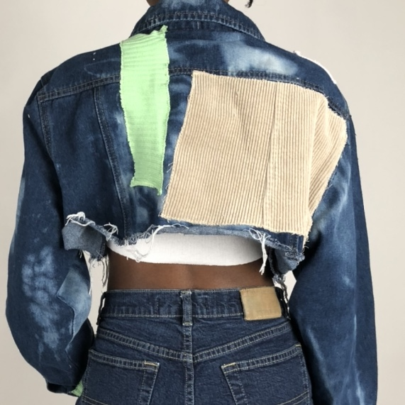 Centric Styles 1:1 handmade patch cropped Jean jacket
