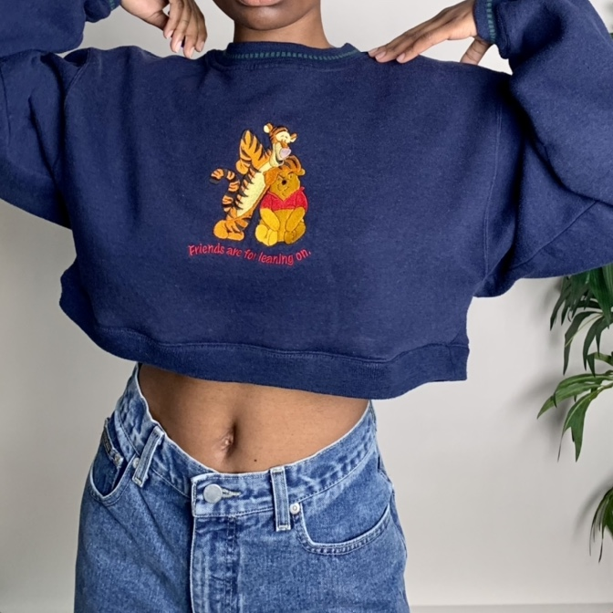 """Vintage reworked cropped """"Friends are for leaning on"""" Pooh"""