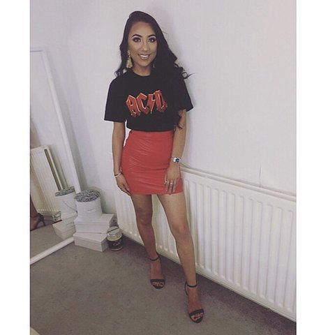 d6e5da057 Miss guided red faux leather skirt. Worn once in perfect 6 8 - Depop