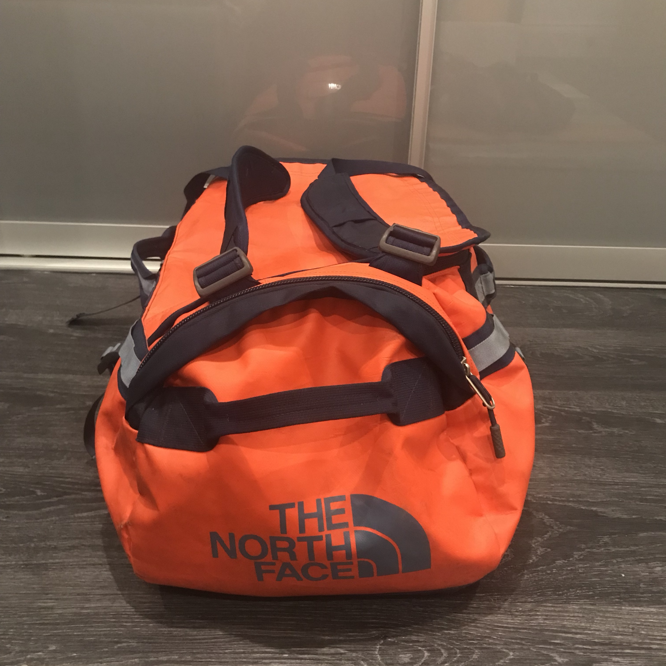 f4fd5a1cf Bright orange north face duffel bag can also be used... - Depop