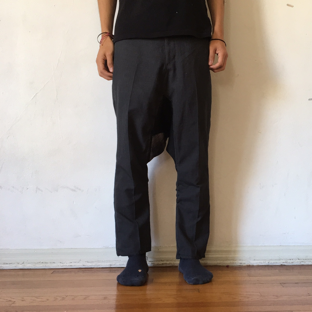 2f80545146 Drop crotch dress pant with a flannel patch. This is piece a - Depop