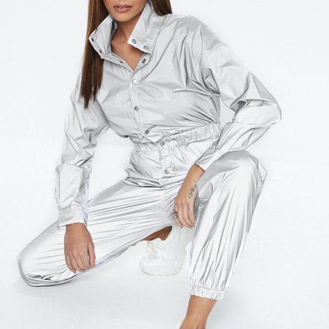 f94fc1838151 Missguided silver reflective jumpsuit. Never worn! Size 6 is - Depop