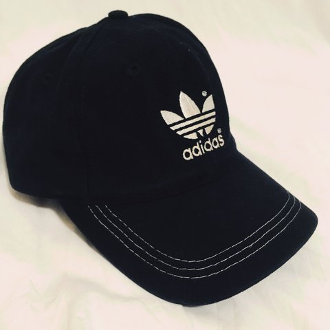 f1ab90633 Adidas Black dad hat with some white stitching on the front. - Depop