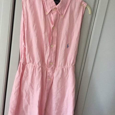 98d77da197a Polo Ralph Lauren reworked shirt dress in a baby pink This L - Depop
