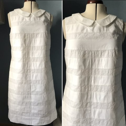 f41a120ef5 BODEN WHITE DRESS BRODERIE ANGLAISE FULLY LINED SIZE - Depop