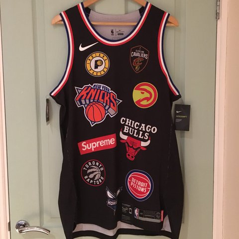 1ea4be22c ... Supreme X Nike X NBA Teams Authentic Jersey Black Sold out ...