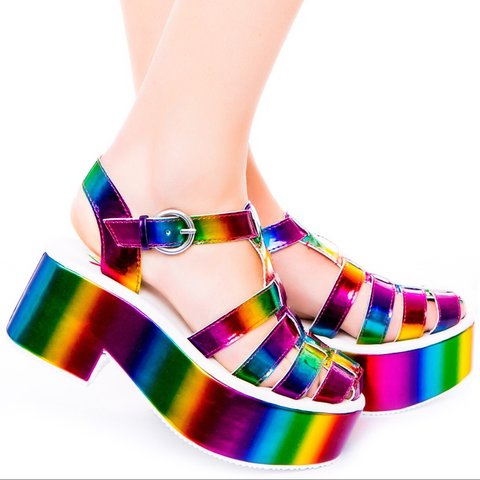 Y.R.U rainbow platform sandals 🌈 Worn once for a night out