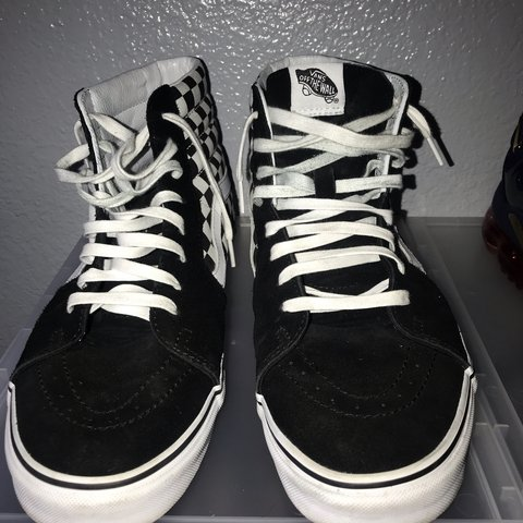 b2f64311c7 High Top Checkered Vans Black White Worn Only 4 Times Are - Depop