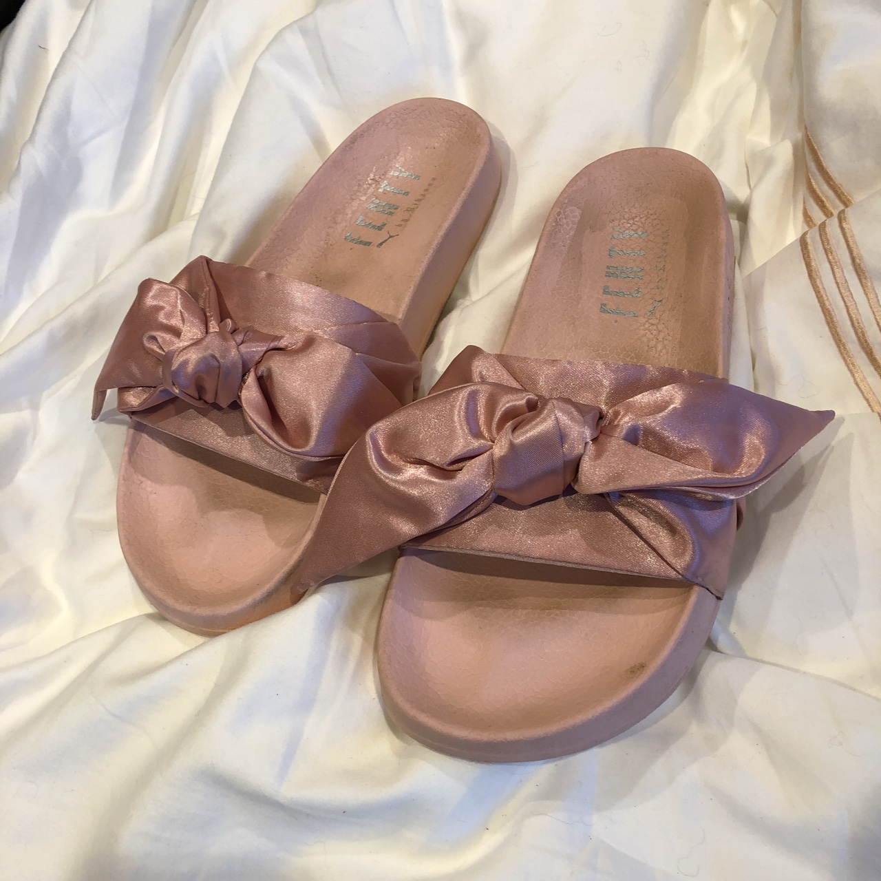half off eafee c0e9c Fenty Puma pink satin bow slides. These are so cute... - Depop