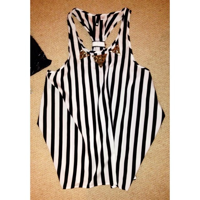 3a02c671ec9407 Black and white vertical striped chiffon satiny vest top! of - Depop