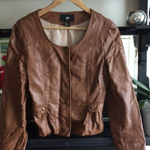 1f16fb72c57b1 H&M fake leather cropped jacket never been worn Please feel - Depop