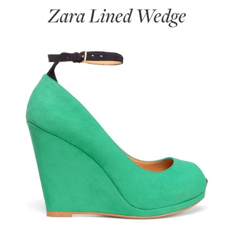 2ba3c1d4999a Zara green wedge with black ankle strap. Hardly worn. and ! - Depop