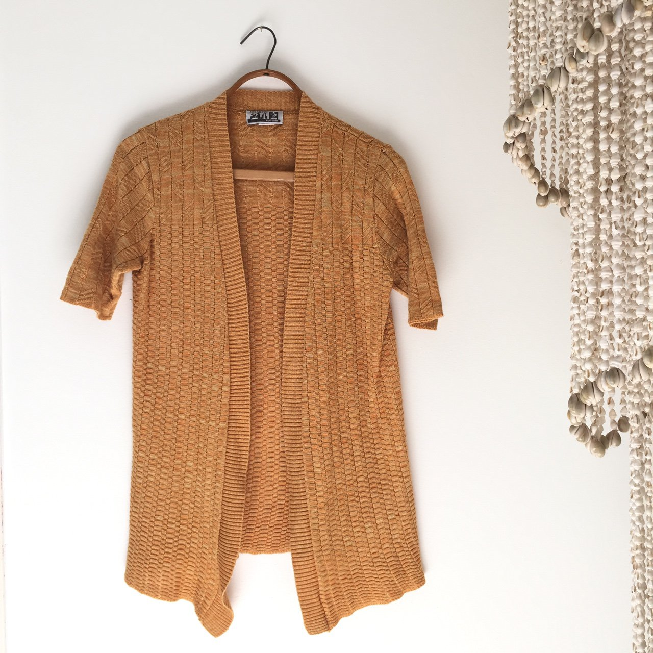 fbbee6a167 Cute lil  apricot mustard space dyed sweater with a short a - Depop