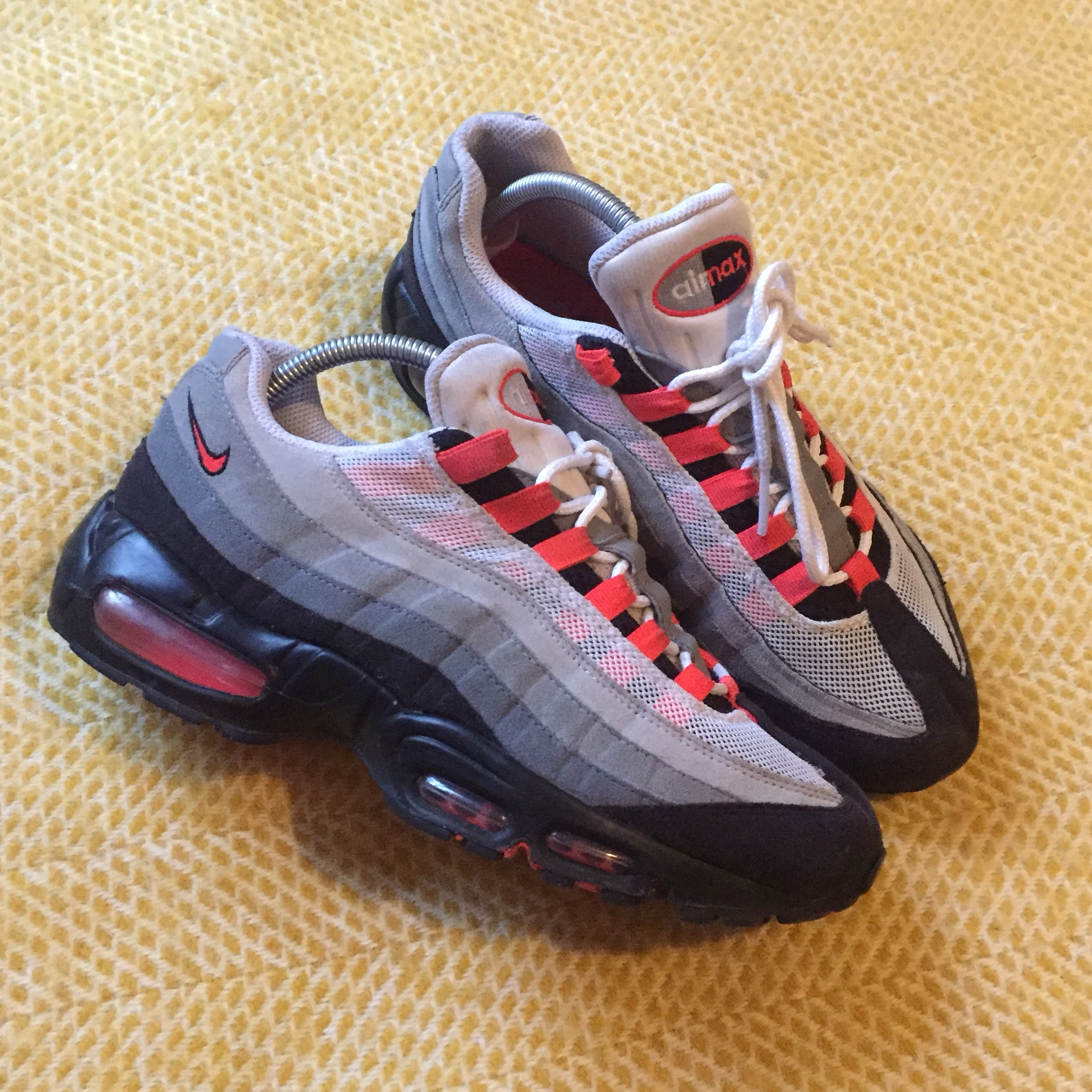 new arrival 4f887 cac03 Nike Air Max 95 solar red neon orange / grey marl -... - Depop