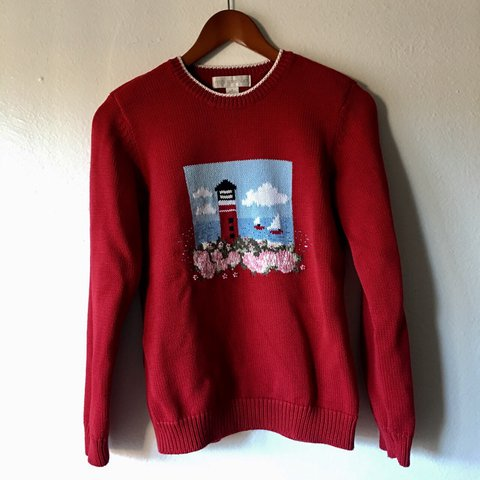 1a892ed02e ⚓️Petite Sophisticate Red Knit Sweater Red with white on a - Depop