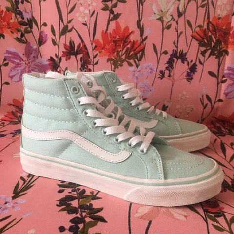 b9bf95ddd7 NEW in box! Mint Hi Top Vans Women s Size 6 Mint blue old a - Depop