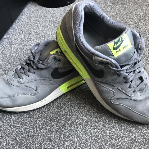 sale retailer 0feaf fb10e  crouchy12. 9 months ago. Great Yarmouth, United Kingdom. Nike Air Max 1 in  Grey Suede with luminous yellow Soles ...