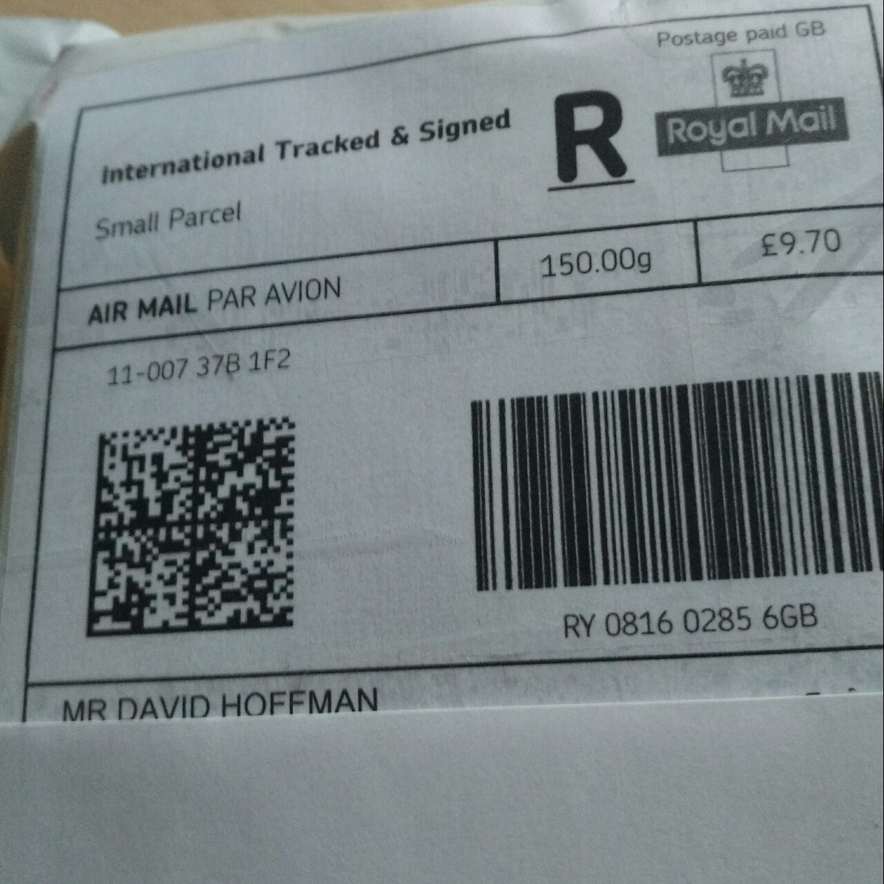 Royal Mail International Tracked & Signed Airmail