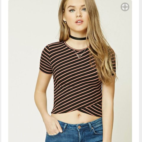 132f4069efd9c2 Crop top ribbed knit An allover striped patterned top