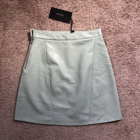 a4c39aa28ea5 @mkimm. 7 months ago. Skokie, United States. Zara Mint Green Faux Leather  Skirt