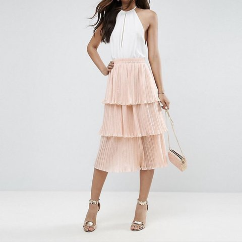 84ff11a85cdc ASOS pleated midi skirt with tiers in pale pink   size 8     - Depop