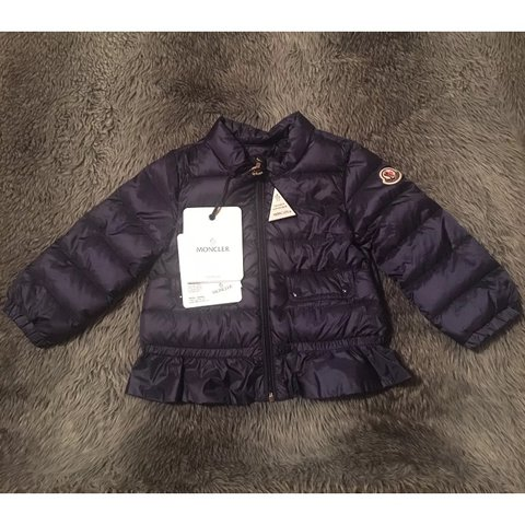 46282640f Girls Moncler Absolutely beautiful Navy Coat/ for as is New - Depop