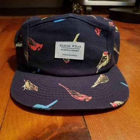 a1ee9b1d16a Maker Wear 5-panel hat. Navy with a bird pattern. Gently and - Depop
