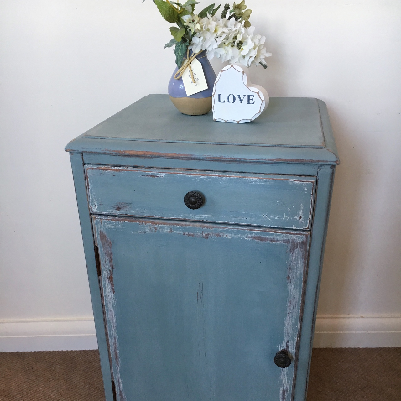 Distressed Bedside Table Drawers Cabinet Shabby Depop